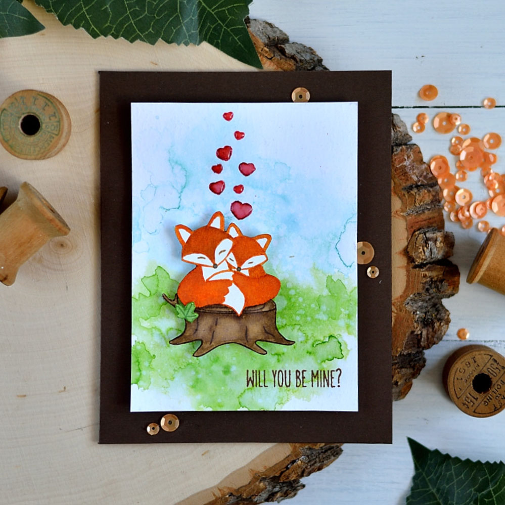 Sweet Valentine Card with Snuggling Foxes. Card by @s_shayevich