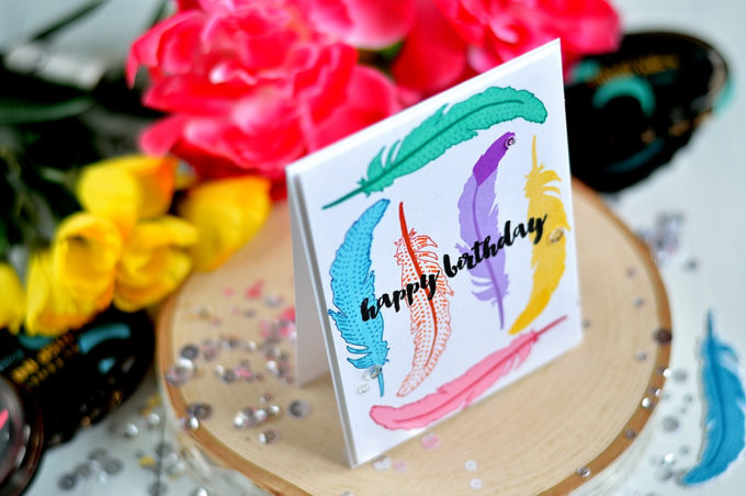 Did you know that mix and matching different layers of Altenew Faithful Feather you can create differently looking feathers. Card by @s_shayevich