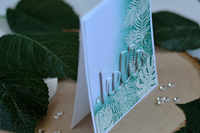 Tropical leaves with winter feel. Card by @s_shayevich
