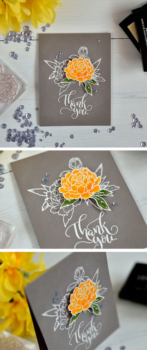 Spotlight technique. White embossed floral design and one raised colored element. Card by @s_shayevich