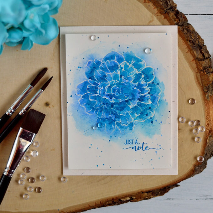 Easy watercolor flower. Card by @s_shayevich
