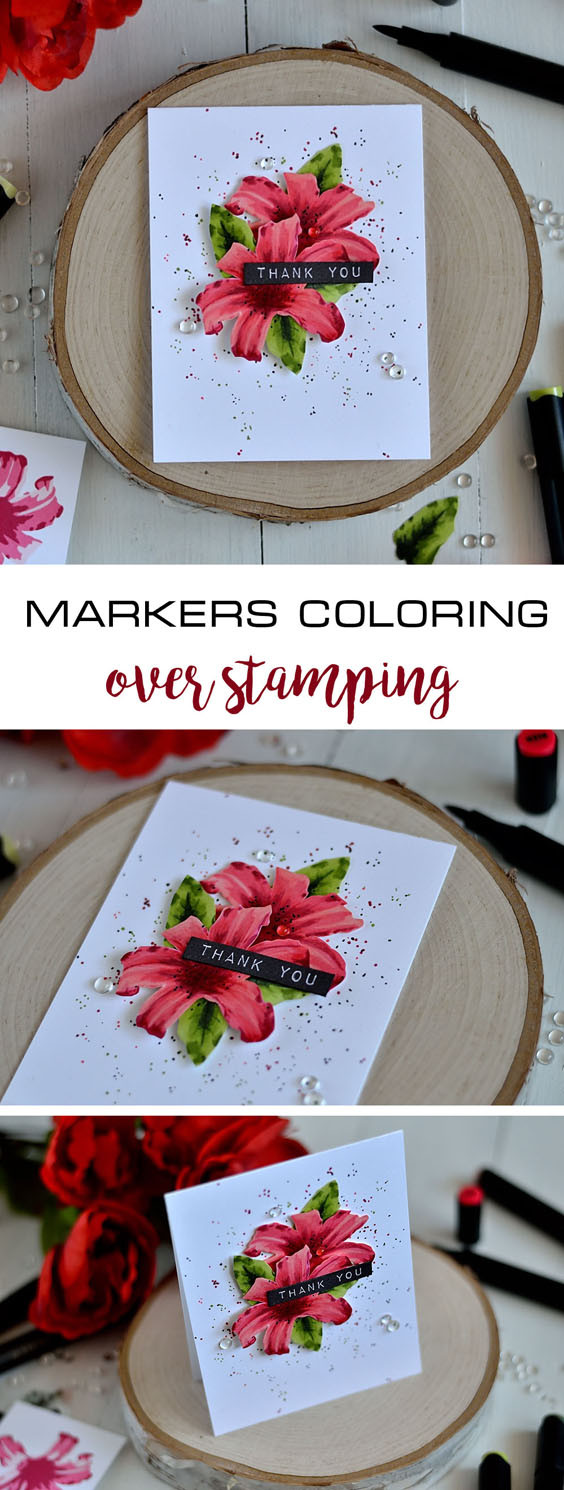 Markers coloring over stamping. Card and video tutorial by @s_shayevich