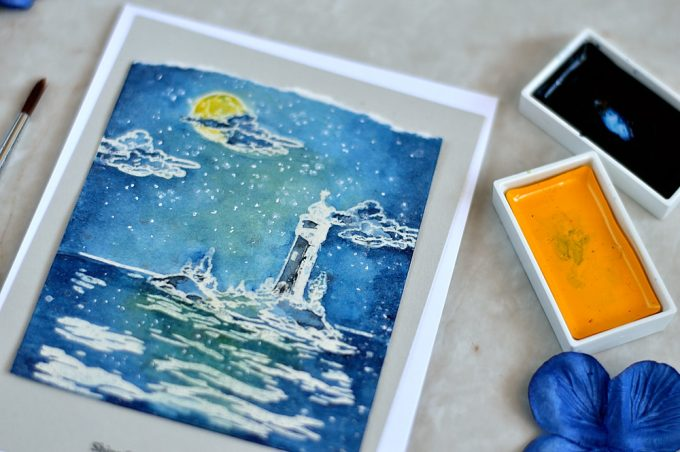 Day and Night painting like scenes using Altenew Be a Lighthouse stamp set. Card by @s_shayevich