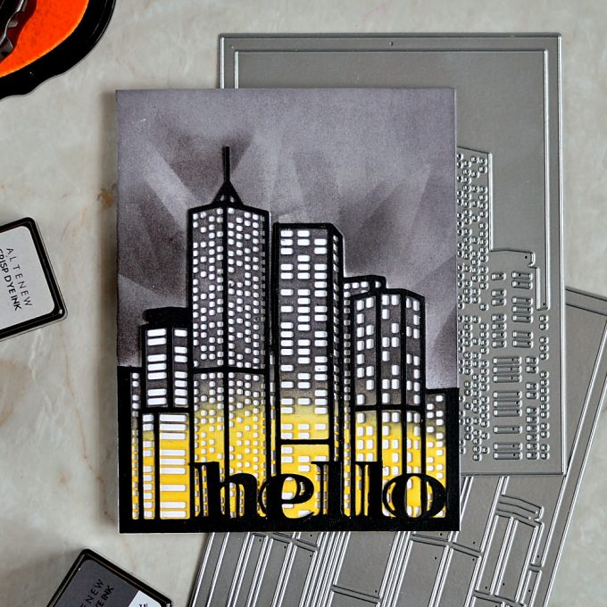 Altenew Cityscape Layering Dies. card by @craftwalks