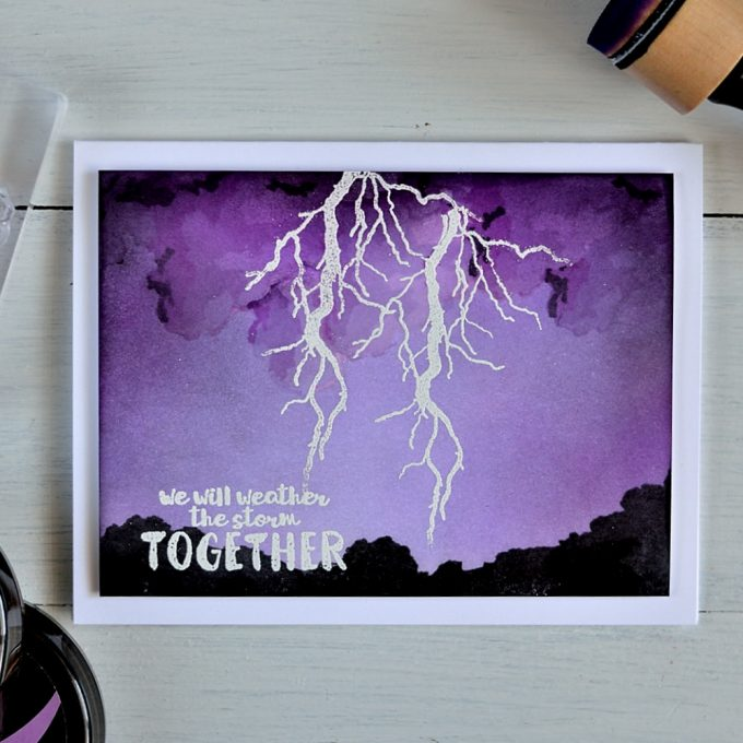 Altenew Rain or Shine. Lightning storm. Card by @s_shayevich