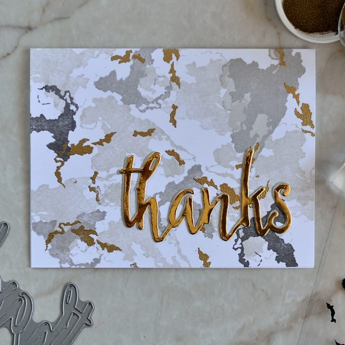 Altenew Rain or Shine. Marble with Gold background. Card by @s_shayevich