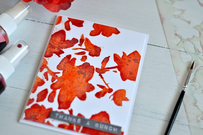 Coloring with sprays using stencils. Card by @s_shayevich
