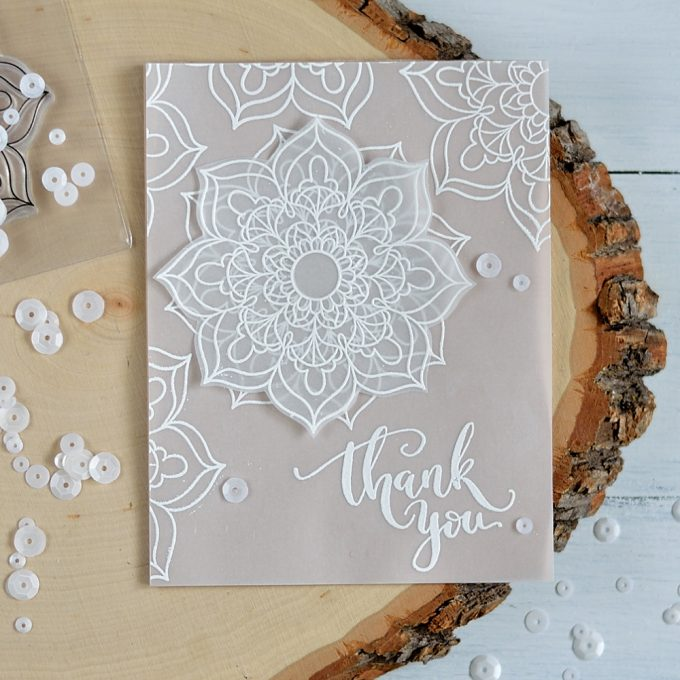 Studio Katia Mandala Flower. Embossing on vellum. Card by @s_shayevich