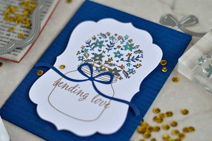 Hero Arts Layering Bouquet and Studio Katia dies. Card by @s_shayevich
