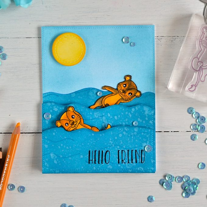 Swimming Lions with Studio Katia stamps. Card by @s_shayevich