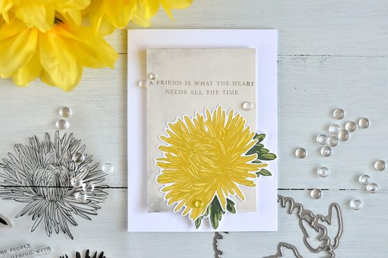 Vintage botanical poster inspired card with Altenew Aster. Card by @craftwalks