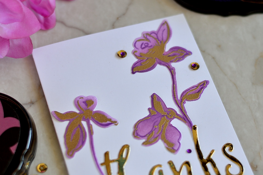 A good thank can bloom. Simple card using Altenew Golden Garden, violet and gold embossing. Card by @craftwalks