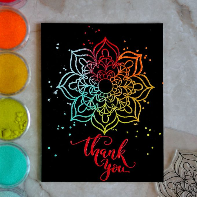 Multi Color Embossed Mandala Flower by Studio Katia. Card by @craftwalks