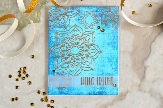 Using Partial and Double Gold Embossing techniques you can create different look using the same stamp. Featuring Studio Katia Mandala Flower.