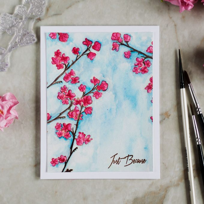 Watercolored Altenew Under the Cherry Blossom Tree. Card by @craftwalks