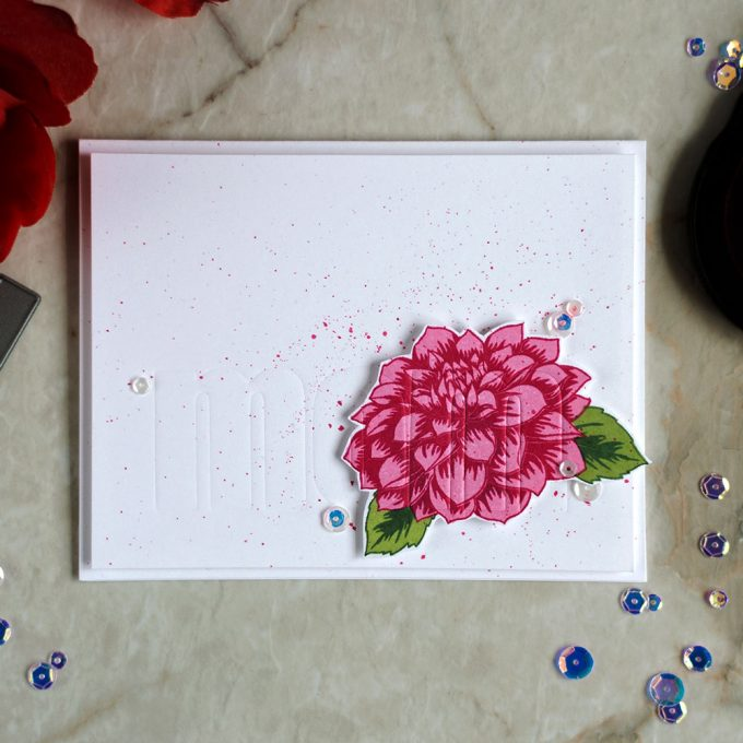 Create a Mother's Day card with hidden sentiment by dry embossing word MOM with dies. With Altenew Dahlia Blossoms stamps and Bold Alphabet dies. Card by @craftwalks.