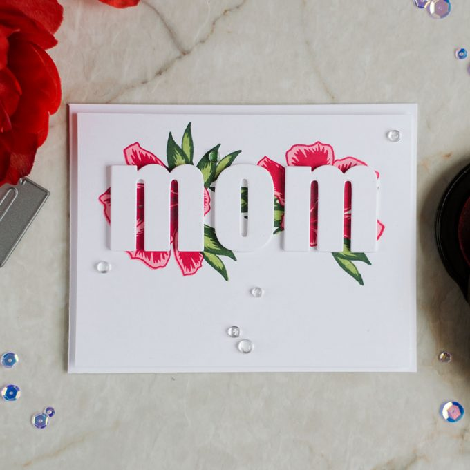 Create a Mother's Day card with bold dimensional sentiment. With Altenew Springtime Azalea stamps and Bold Alphabet dies. Card by @craftwalks.