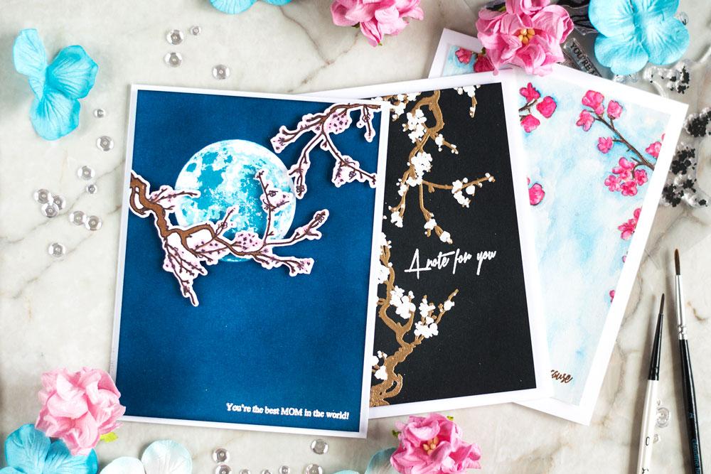 Altenew Under te Cherry Blossom Tree. Cards by @craftwalks