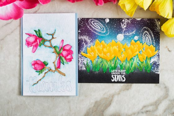 Space crokus and watercolor magnolia. Cards by @craftwalks