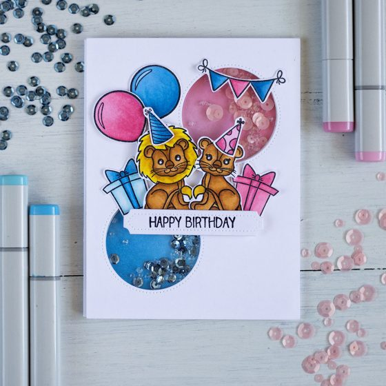 Fun and cute shaker dual gender using Studio Katia Birthday Lions stamp set, dies, seeds and sequins. Card by @craftwalks