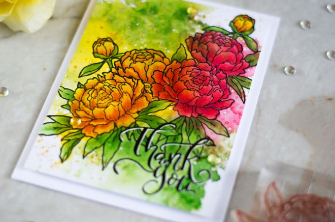 COPIC coloring over distress ink smooshing. With Studio Katia Together We Bloom. Card by @craftwalks