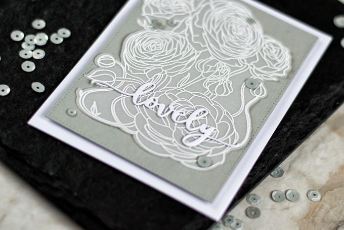 Floral design, embossed on vellum is a way to go when you want to create an elegant card. With Studio Katia You're So Ranunculus stamp set. Card by @craftwalks