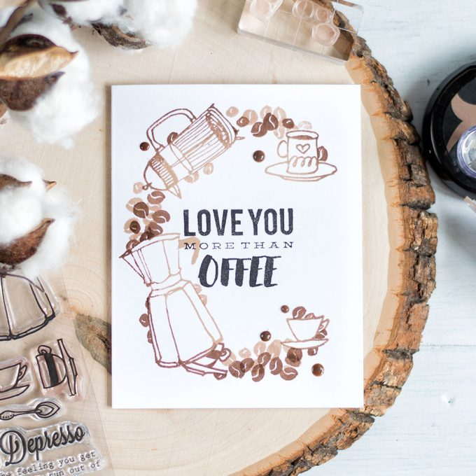 Stamp huge C from coffee word using coffee beans, cups and makers to make a coffee theme card or card for a coffee lover. Card by @craftwalks