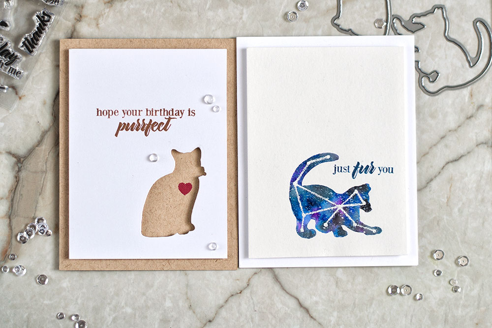 Clean and simple cards with negative die cut using Altenew Modern Cats die set. Cards by @craftwalks