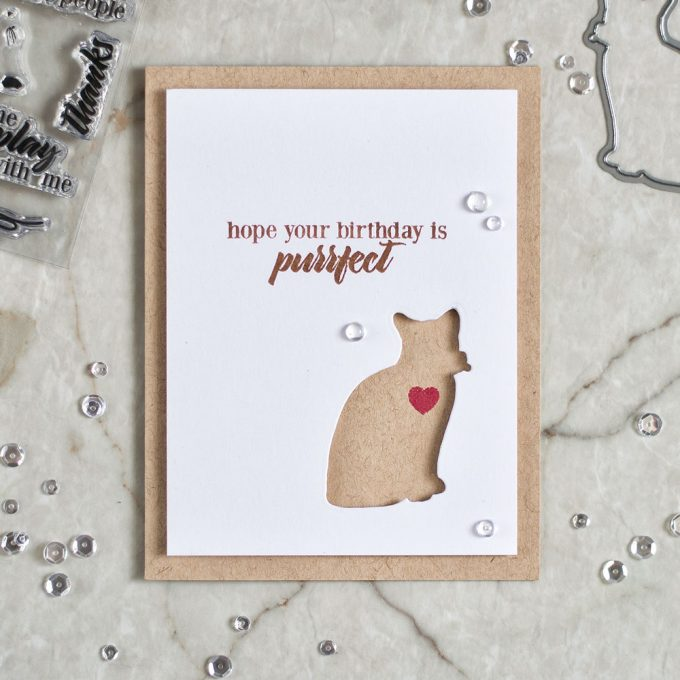 Clean and simple card with negative die cut using Altenew Modern Cats die set. Card by @craftwalks