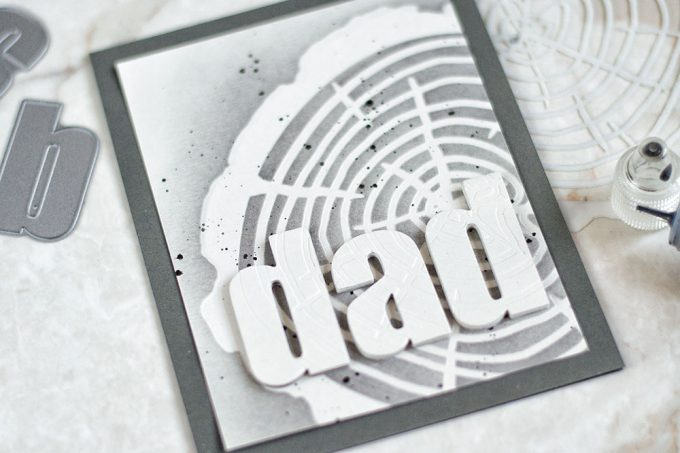 Masculine card with Altenew Tree Ring stencil. Card by @craftwalks