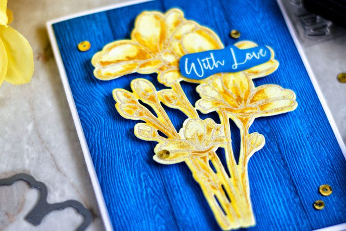 Make a gold watercolor by mixing gold Perfect Pearls with Yellow paint. Made with Simon Says Stamp Bouquet of Thanks. Card by @craftwalks.