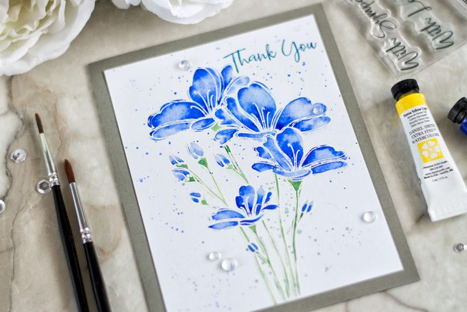 Quick and simple watercolor of white embossed Simon Says Stamp Bouquet of Thanks. Card by @craftwalks.