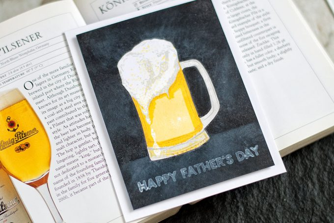 Use masking technique to create one-layer chalkboard looking card with bright stamped image in the middle. The Ton Beer Stamp Set. Card by @craftwalks