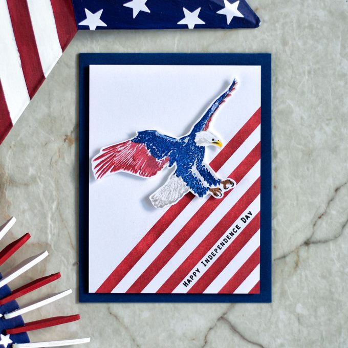 Blue Red White Eagle. $th of July Card. Stamps by The Ton. Card by @craftwalks
