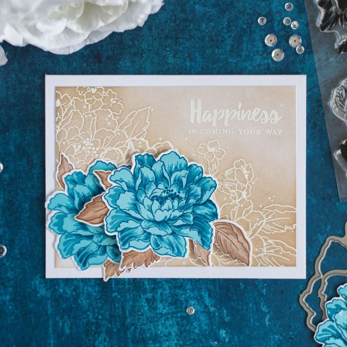 Blue and browns are one of the winning combos. If you're struggling with choosing colors for your card - try using these colors. Together they're bomb! Made with Altenew Build-A-Flower Coral Charm. Card by @craftwalks.