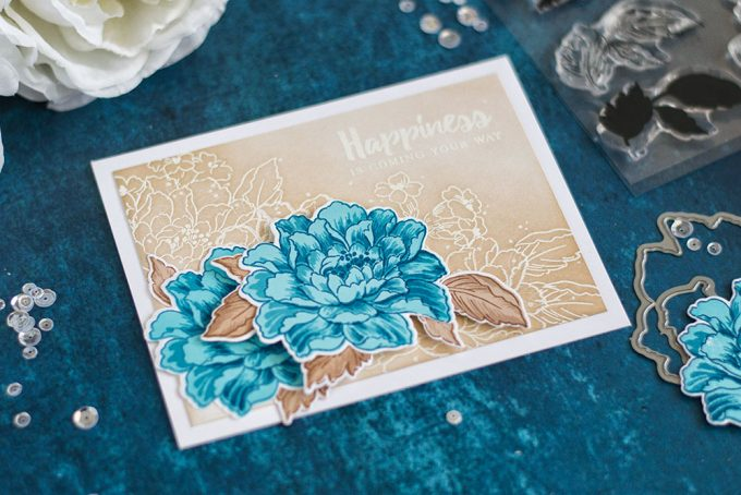 Blue and brows are one of the winning combos. If you're struggling with choosing colors for your card - try using these colors. Together they're bomb! Made with Altenew Build-A-Flower Coral Charm. Card by @craftwalks.