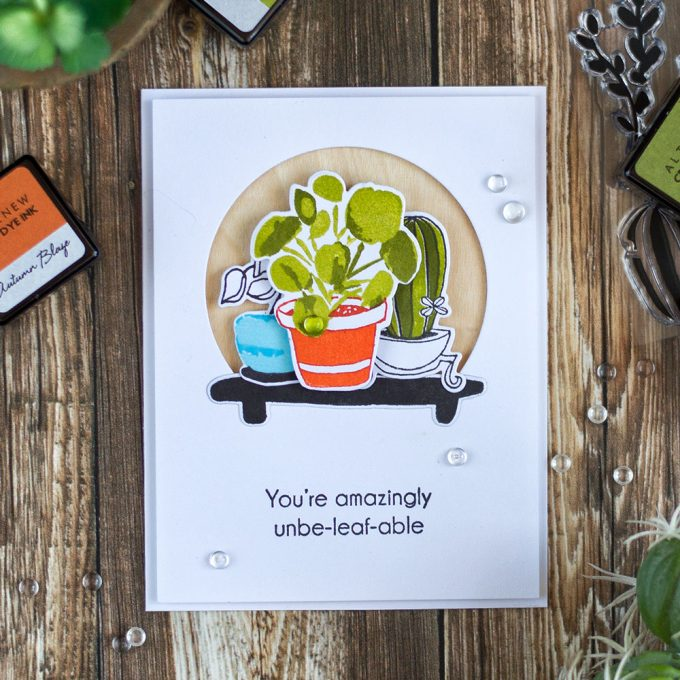 Clean and simple card with pop of color using Altenew Indoor Garden stamp set and wood paper. Card by @craftwalks