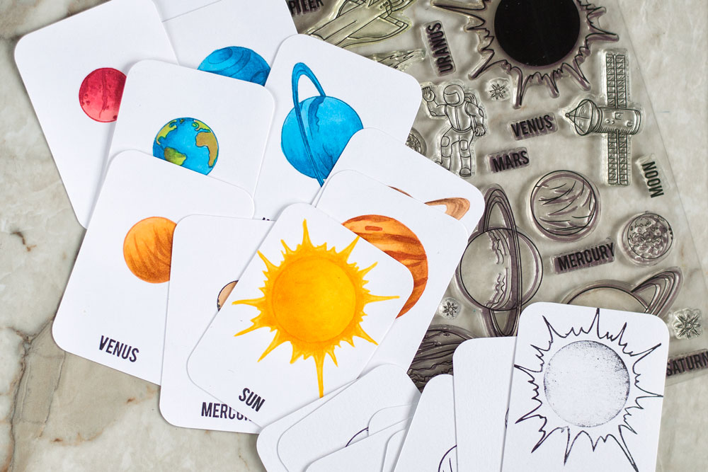 Make Solar System learning flash cards using Altenew Space Travel stamp set. Project by @craftwalks.