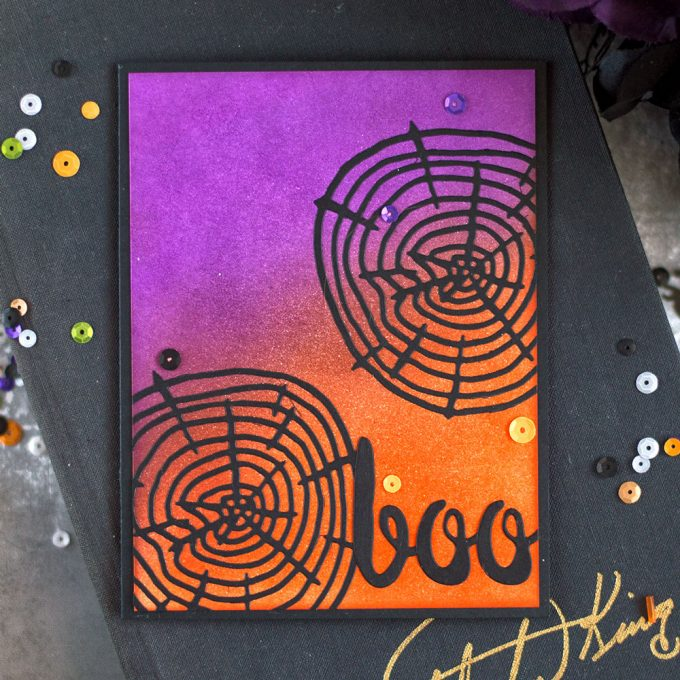Make a Halloween card by creating a spider web using Altenew tree ring die. Card by @craftwalks