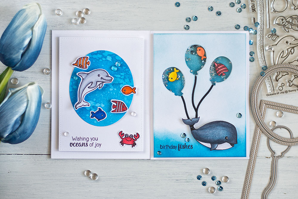 Cute and fun sea themed cards using Sunny Studio stamps and Studio Katia dies. Cards by @craftwalks