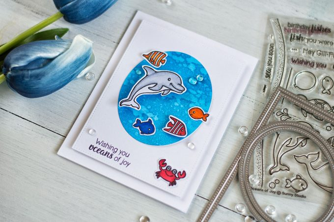 Oceans Of Joy sea themed card. Stamps from Sunny Studio. Dies - Studio Katia. Card by @craftwalks.