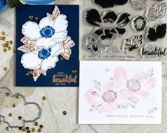 Altenew Build-A-Flower Anemone. Cards by @craftwalks