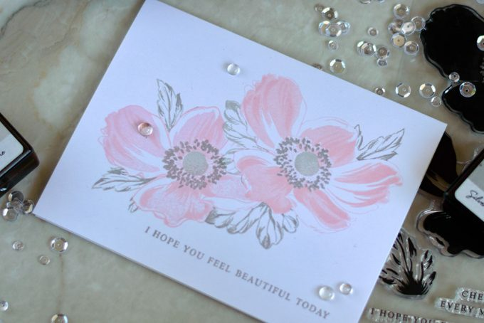 Soft and elegant card with Altenew Build-A-Flower Anemone. Card by @craftwalks