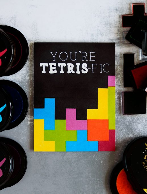 You're TETRIS-fic card using Altenew Building Blocks Stamp Set. Card by @craftwalks