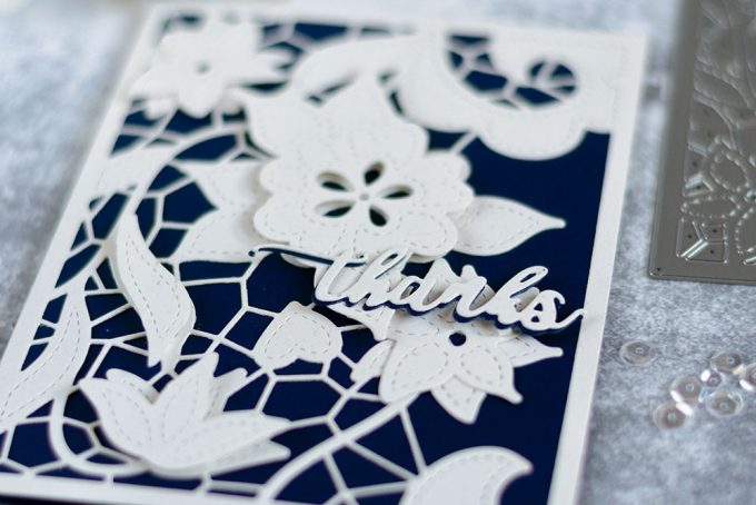 Elegant card with beautiful Altenew Doodled Lace Cover Die. Card by @craftwalks