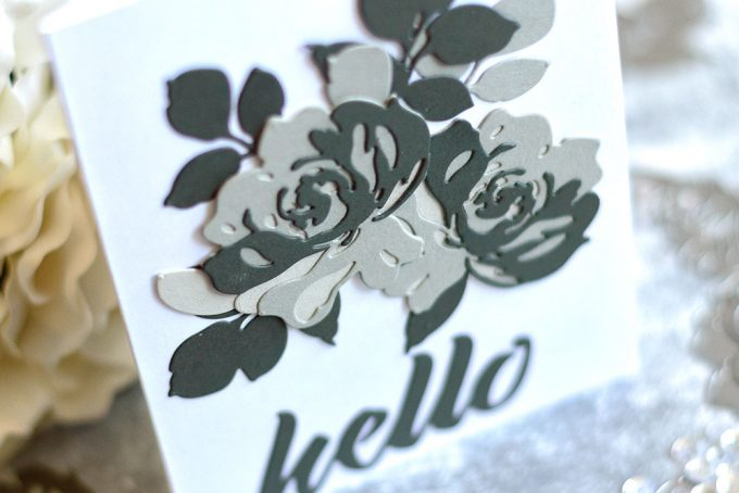 Gray rose cluster using Altenew Fantasy Floral Die Set. Card by @craftwalks