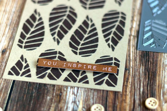 Negative die-cut inlay of Altenew Striped Leaf Cover Die. Card by @craftwalks
