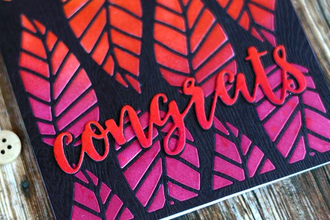 Fall Gradient Diecut Inlay with Altenew Striped Leaf Cover Die. Card by @craftwalks