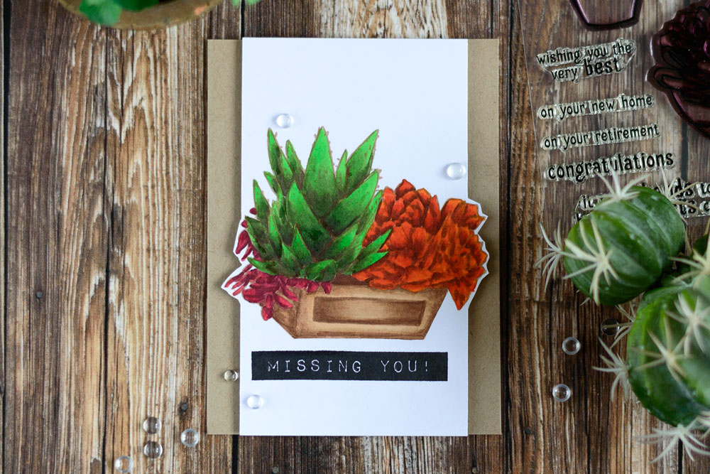 Succulents in a crate. Missing you card using Altenew Succulents and Best Dad stamp sets. Card by @craftwalks
