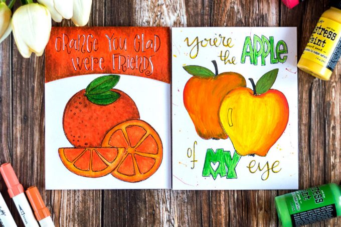 Simon Says Stamp Suzy's Fruit Puns Watercolor Paintable Prints colored with Distress Paints and Markers. Cards by @craftwalks.